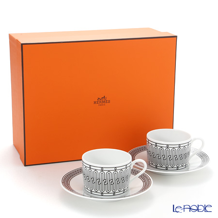 Hermes 'H Deco' Black Tea Cup & Saucer 160ml (set of 2)