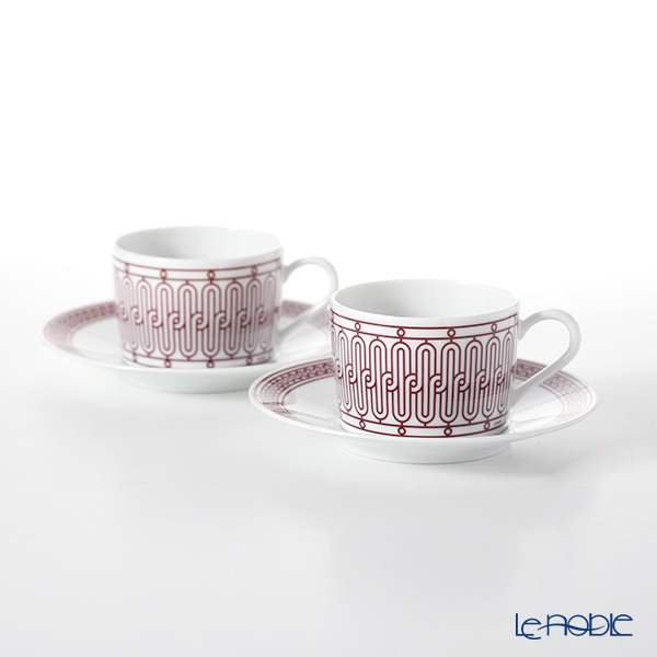 Hermes H Deco rouge Tea cup and saucer, 16.0 cl set of 2