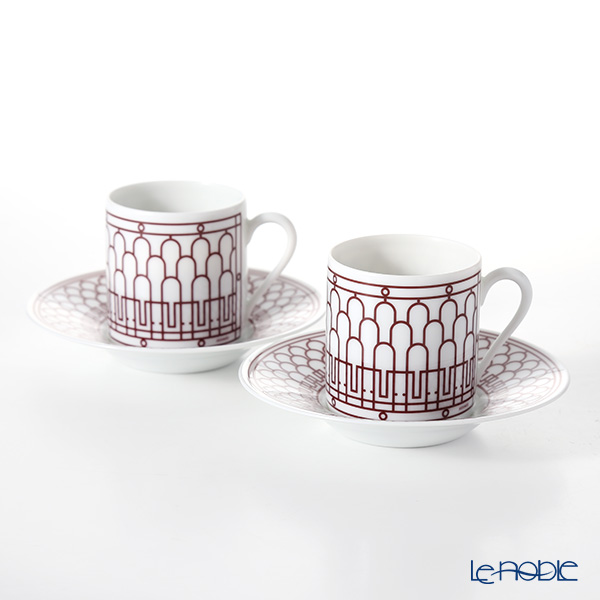 Hermes H Deco rouge Coffee cup and saucer, 9 cl set of 2