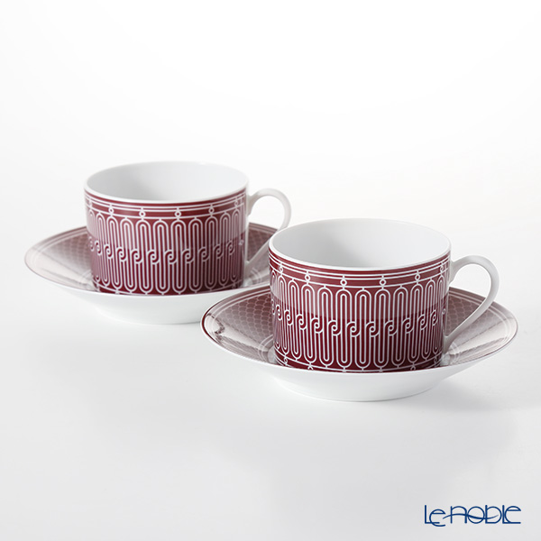 Hermes 'H Deco' Rouge Red Breakfast Cup & Saucer 340ml (set of 2)