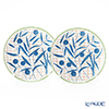 Hermes 'A Walk in the Garden' Blue 043007P Dessert Plate 21cm (set of 2)