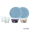 Iittala Taika & Teema Plate, Bowl and Glass set for 2 person