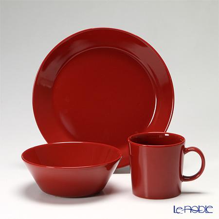 Iittala Teema Mug 0.3 l, Plate 21 cm, and Bowl 15 cm red