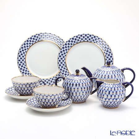 Imperial Porcelain / Lomonosov 'Cobalt Net Blue - Tulip & European' Tea Cup & Saucer, Plate, Tea Pot, Sugar Pot, Creamer (set of 7 for 2 persons)