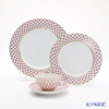 Imperial Porcelain Blues Pink Net Plate 270 mm, 215 mm & Tea cup with saucer