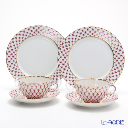 Imperial Porcelain / Lomonosov 'Net Blues Pink - Tulip & European' Tea Cup & Saucer, Plate (set of 4 for 2 persons)