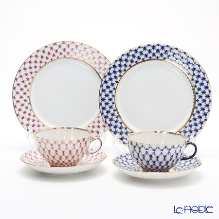 Imperial Porcelain / Lomonosov 'Cobalt Net Blue - Net Blues Pink - Tulip & European' Tea Cup & Saucer, Plate (set of 4 for 2 persons, 2 colors)