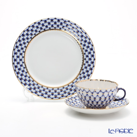 Imperial Porcelain / Lomonosov 'Cobalt Net Blue - Tulip & European' Tea Cup & Saucer, Plate (set of 2 for 1 person)