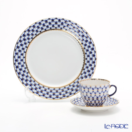 Imperial Porcelain Cobalt Net Tulip Plate 215 mm & Coffee cup with saucer