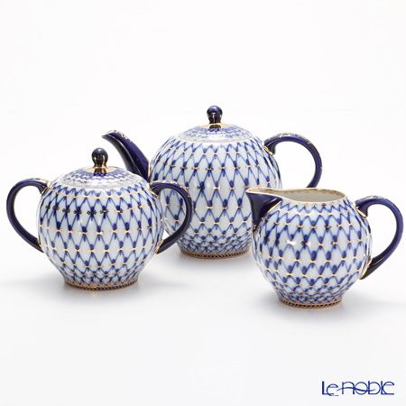 Imperial Porcelain / Lomonosov 'Cobalt Net Blue - Tulip' Tea Pot, Sugar Pot, Creamer (set of 3)