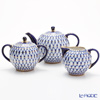 Imperial Porcelain Cobalt Net Tulip Pot, Creamer and Sugar Bowl set