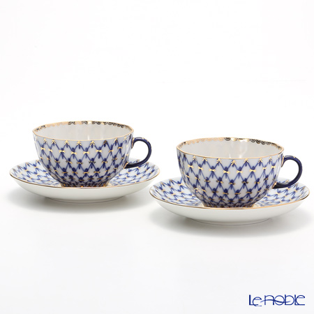 Imperial Porcelain / Lomonosov 'Cobalt Net Blue - Tulip' Tea Cup & Saucer 250ml (set of 2)