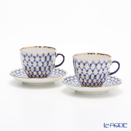 Imperial Porcelain / Lomonosov 'Cobalt Net Blue - Tulip' Coffee Cup & Saucer 140ml (set of 2)