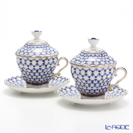 Imperial Porcelain Cobalt Net Gift 2 Covered Cup with saucer 8.45 oz / 250 ml set of 2