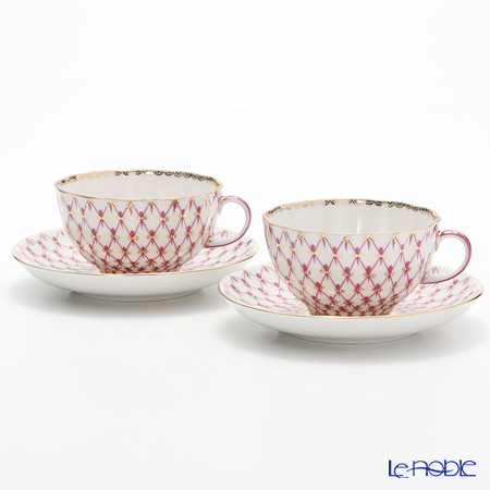 Imperial Porcelain / Lomonosov 'Net Blues Pink - Tulip' Tea Cup & Saucer 250ml (set of 2)
