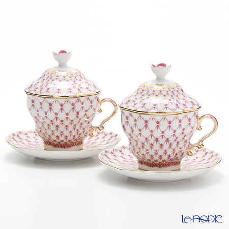 Imperial Porcelain / Lomonosov 'Net Blues Pink' Covered Cup & Saucer 250ml (set of 2)