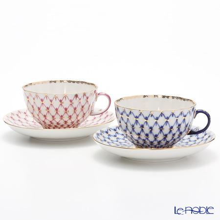 Imperial Porcelain Cobalt Net Tulip & Blues Pink Net set Tea Cup with Saucer 8.45 oz / 250 ml