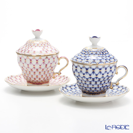 Imperial Porcelain Cobalt Net Tulip & Blues Pink Net set Covered Cup with saucer 8.45 oz / 250 ml