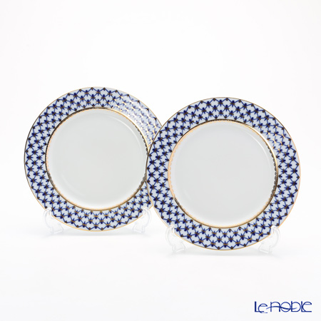 Imperial Porcelain / Lomonosov 'Cobalt Net Blue - European' Plate 21.5cm (set of 2)