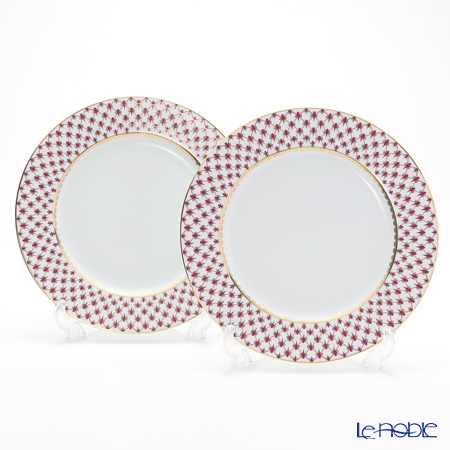 Imperial Porcelain / Lomonosov 'Net Blues Pink - European' Plate 27cm (set of 2)
