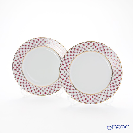 Imperial Porcelain Blues Pink Net Plate 215 mm set of 2