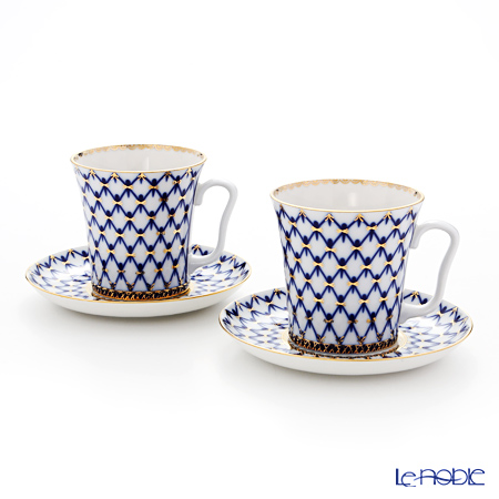 Imperial Porcelain / Lomonosov 'Cobalt Net Blue - Leningrad' Mug & Saucer 360ml (set of 2)
