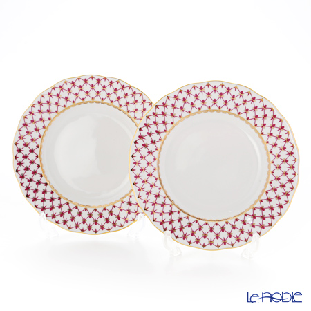 Imperial Porcelain / Lomonosov 'Net Blues Pink - Tulip' Plate 18cm (set of 2)