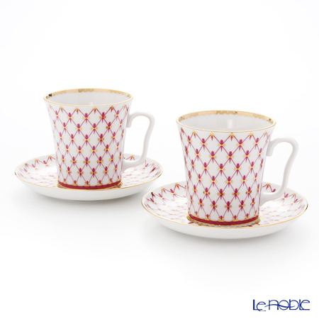 Imperial Porcelain / Lomonosov 'Net Blues Pink - Leningrad' Mug & Saucer 360ml (set of 2)