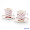 Imperial Porcelain Blues Pink Net Leningrad Mug with Saucer 360 ml set of 2