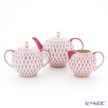 Imperial Porcelain / Lomonosov 'Net Blues Pink - Tulip' Tea Pot, Sugar Pot, Creamer (set of 3)
