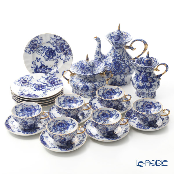 Imperial Porcelain / Lomonosov 'Singing Garden - Marquee' Blue & Gold Tea Cup & Saucer, Plate, Tea Pot, Sugar Pot, Creamer (set of 15 for 6 persons)