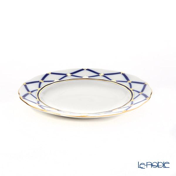 Imperial Porcelain / Lomonosov 'Polyhedron' Cobalt Blue Tea Cup & Saucer, Plate (set of 2 for 1 person)
