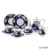 Imperial Porcelain / Lomonosov 'Russian Domes' Tea Cup & Saucer, Plate, Tea Pot, Sugar Pot, Creamer (set of 7 for 2 persons)