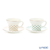 Imperial Porcelain / Lomonosov 'Green Net Pink Flower & Blue Flower' Tea Cup & Saucer 155ml (set of 2 colors)