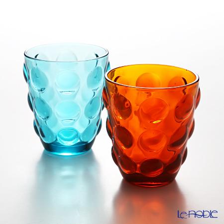 イタレッセ ガラスタンブラー ボッレオレンジ&ブルー 340cc ガラス製 ペア