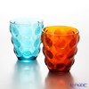 Bolle italesse glass tumbler Orange & Blue 340 cc glass pair