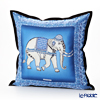 Jim Thompson 'Ceremony Elephant Dressed Up' Blue / Black 70006A Ruffled Silk Cushion Cover (with Cushion) 46x46cm