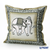 Jim Thompson 'Ceremony Elephant Dressed Up' Khaki Green 70006B Ruffled Silk Cushion Cover (with Cushion) 46x46cm