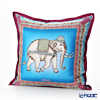 Jim Thompson 'Ceremony Elephant Dressed Up' Sky Blue / Purple 70006D Ruffled Silk Cushion Cover (with Cushion) 46x46cm