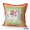 Jim Thompson 'Ceremony Elephant Dressed Up' Moss Green / Orange 70006E Ruffled Silk Cushion Cover (with Cushion) 46x46cm