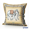 Jim Thompson 'Ceremony Elephant Dressed Up' Beige / Brown 70006C Ruffled Silk Cushion Cover (with Cushion) 46x46cm