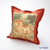 Jim Thompson 'Erawan Elephants' Red PSB9588A Ruffled Silk Cushion Cover (with Cushion) 46x46cm