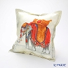Jim Thompson 'Royal Elephant' Orange Grey PSB9578B Ruffled Silk Cushion Cover (with Cushion) 46x46cm