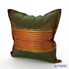 Jim Thompson 'Half Stripe' Bronze Green / Orange 3543/04T Ruffled Silk Cushion Cover (with Cushion) 49x49cm