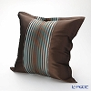Jim Thompson 'Half Stripe' Brown / Turquoise Blue 3543/05T Ruffled Silk Cushion Cover (with Cushion) 49x49cm
