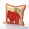 Jim Thompson 'Red Elephant with Monkey' Orange frame 7690A Ruffled Cotton Cushion Cover (with Cushion) 46x46cm