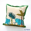 Jim Thompson 'Blue Elephant Family' Green frame 7691A Ruffled Cotton Cushion Cover (with Cushion) 46x46cm