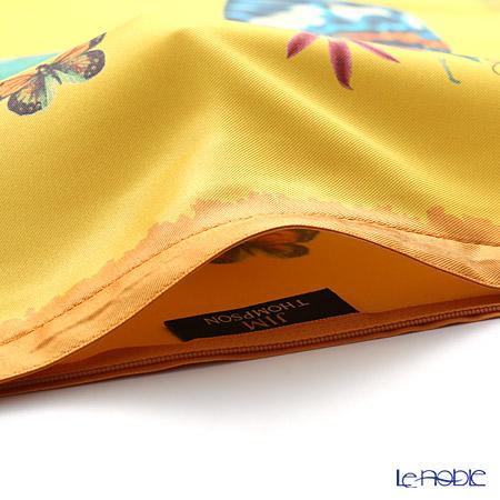 ジムトンプソン クッションカバー シルク フリル 0257Aパロットフラワーバタフライ/オレンジ 【クッション付】