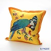 Jim Thompson 'Blue Parrot & Butterfly' Yellow Orange 0257A Ruffled Silk Cushion Cover (with Cushion) 46x46cm