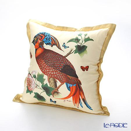 ジムトンプソン クッションカバーシルク フリル 0258A南国の鳥/花/蝶 ベージュ 【クッション付】